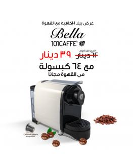 101CAFFE Bella coffee maker with coffee capsules offer